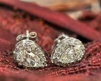2.30 Ct Pear Cut Diamond Halo Stud Earrings 14K White Gold Over For Women's