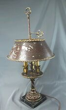 "Antique Brass Bouillotte Table Lamp 24""  3 Candle light Metal shade ~ CREST Co."