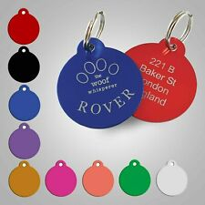 Engraved Colour Pet Tag Disc Dog Cat Personalised Pet ID Tag 32mm