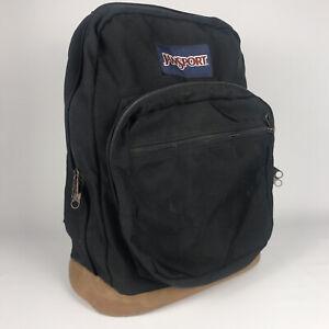 Vintage JANSPORT Backpack - Black with Brown Suede Leather Bottom