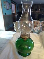 "Vintage glass Eagle Lamp Lantern Kerosene Oil w/Chimney 14.5"" tall - green base"
