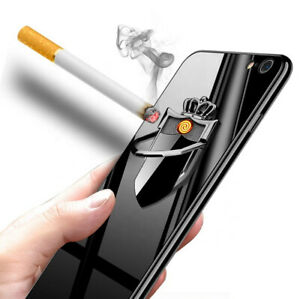 Phone Ring Holder Metal Stand Rechargeable Electric Cigarette Lighter Windproof