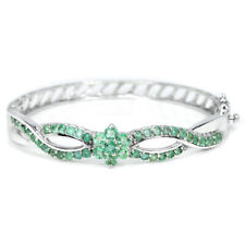 NATURAL AAA GREEN EMERALD COLUMBIAN STERLING 925 SILVER FLOWER BANGLE SIZE 6.5""