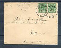 Deutsches Reich Mi.-Nr. 46 MeF vertikales Paar auf Bedarfsbrief - b1077