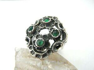 Schöner Trachten Ring Silber 835 + grüner Achat
