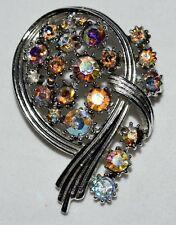 Vintage PEGASUS Coro Aurora Borealis Rhinestones Abstract Silver Tone Oval Pin