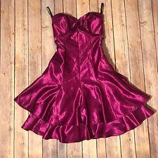 Jessica Mcclintock Gunne Sax Dress Magenta 80s 90s Homecoming Cross Back SZ 1