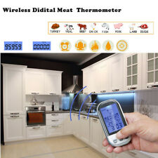 Wireless Remote Barbecue BBQ Oven Grill Meat Digital Thermometer Built-In Timer