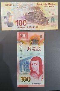 MEXICO 2 BANKNOTES - 100 PESOS - 2010 & 2020 - POLYMER - UNC