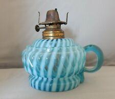 Vintage Victorian Blue Ribbed Swirl Opalescent Swirl Finger Manhattan Oil Lamp