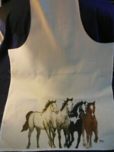 """1 NEW  Adult Apron Panel - GALLOPING HORSES, tan background,   27""""x35"""""""