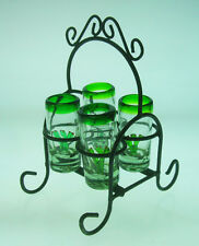 Mexican tequila cactus 4 SHOT Glasses, handblown, with metal display rack