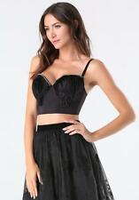 BEBE BLACK HEIDI FEATHER BUSTIER BRA TOP NEW NWT $98 SMALL S