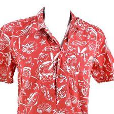 Columbia PFG Gamefish Mermaids Martinis Palms Red White Medium Fishing Shirt