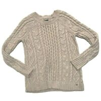 American Eagle Sweater Medium Cable Knit Pullover Metallic Holiday Rose Gold M