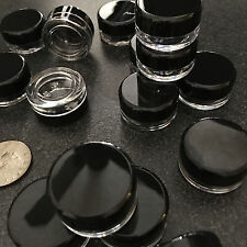 25 Lip Balm Pot Empty Cosmetic Jars Plastic Beauty Containers 3 Gram Ml Black .