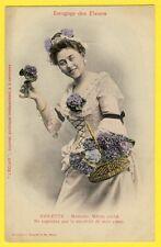 """cpa BERGERET Dos 1900 FEMME Langage des FLEURS """"VIOLETTE"""" Journal L'ECLAIR"""