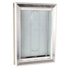BarksBar Original Plastic Dog Door with Aluminum Lining - White, Soft Flap, 2.