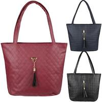 Ladies Quilted Leather Designer Shopper Bag Hobo Shoulder Tote Handbag Tassel