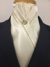 HHD Cream SATIN SHOW HORSE STOCK TIE Gold PIPING & FREE Pin