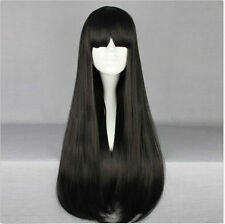 New Black Long Straight 70CM Women Fashion Party Cosplay Wig with Bangs+Wig Cap