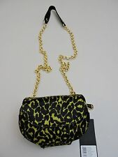 NWT-$168 Kenneth Cole New York Yellow & Black Calf Hair and Leather Clutch