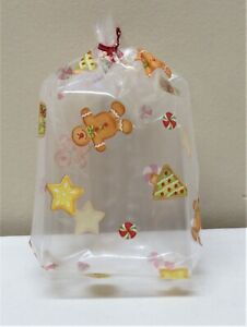 """LOT 20 MED """"CHRISTMAS GINGERBREAD"""" CLEAR CELLO GOODIE BAGS WITH RED TWIST TIES"""