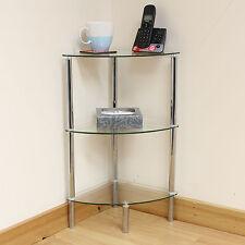 Hartleys 3 Tier Clear Glass Corner Side/End Table Shelf/Display Unit Lounge/Hall