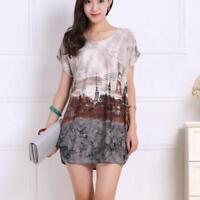 Summer New Women T Shirt Plus Size Mini Dress Short Sleeve Loose Casual