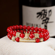 2Pcs Micro Pave Balls Crown Tube Red Turquoise Beads Men's Bracelets Jewelry