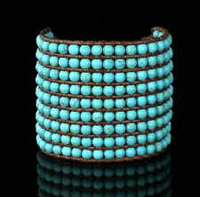 Natural Turquoise Stone Bracelet Beaded Cuff Wrap Blue Leather Friendship Thick