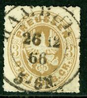 Germany 1865 Prussia 3 Gr Bistre Brown Roulette 11½ SG #37 VFU G248 ⭐⭐⭐⭐⭐
