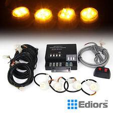Amber 120W 4 LED Bulbs Hide A Way Emergency Hazard Warning Strobe Light System