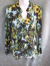 Style & Co Blouse Size 10 Blurred Greens Floral Print Sheer Crinkled Ruffled NWT
