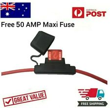 Maxi Blade Fuse Inline Holder – 50 AMP 8AWG x 300mm Long Weatherproof Free Fuse