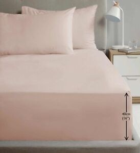 """16"""" Percale Fitted Sheet Extra Deep Elasticated Mattress Cover Blush Pink Double"""