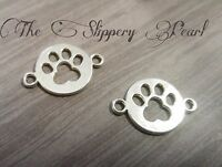10 Paw Print Charms Connectors Paw Links Dog Pendants Antiqued Silver 2 Holes