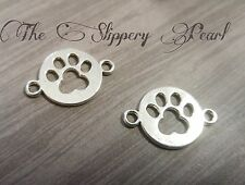 10 Paw Print Charms Pendants Connectors Paw Charms Dog Charms Antiqued Silver