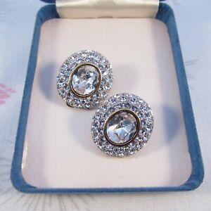 Vintage Bold Diamante Rhinestone Oval Clip Earrings
