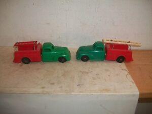 """Vintage Pair Of Hubley Kiddie Toy Repair Truck # 320 Plastic Green Red 7"""" Long"""