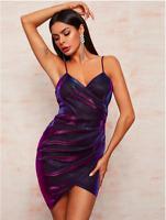 Multicolor Holographic Wrap Asymmetrical Hem Cami Cocktail Dress Sz XS S M L