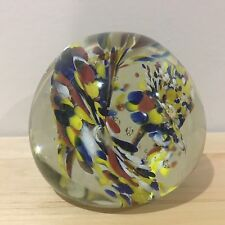 Vtg Hand Blown Glass Ball Multicolored Flowers Controlled Bubbles Paperweight