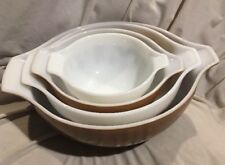 PYREX Ovenware 4pc Brown/White Country Home Casserole Baking Bowl Set w/Handles