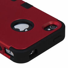 for iPhone 4 4S - Red Black High Impact Armor Hard&Soft Rubber Hybrid Case Cover