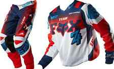 FOX 180 MOTOCROSS PANTS & JERSEY COMBO #34 /LG IMPERIAL BLUE/RED Dirt bike MX