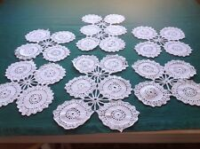 6 Vintage White Cotton Crochet Doilies Same Pattern 2 Sizes #40