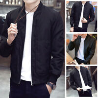 Men's Casual Coat Bomber Slim Fit Baseball Outwear Zipper Stand Collar Jacket