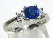 Blue Sapphire Ring 18K White Gold Pave 3 Stone Certified Heirloom 1.86ct $4,975