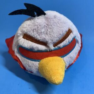 """Angry Birds Space Lazer Plush 6"""" Stuffed Animal Bird Toy Purple Red Cape Clean"""