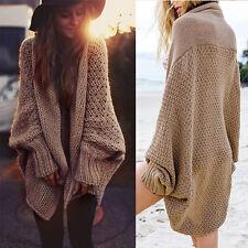 Women Oversized Batwing Sleeve Knitted Sweater Tops Loose Cardigan Coat Outwear